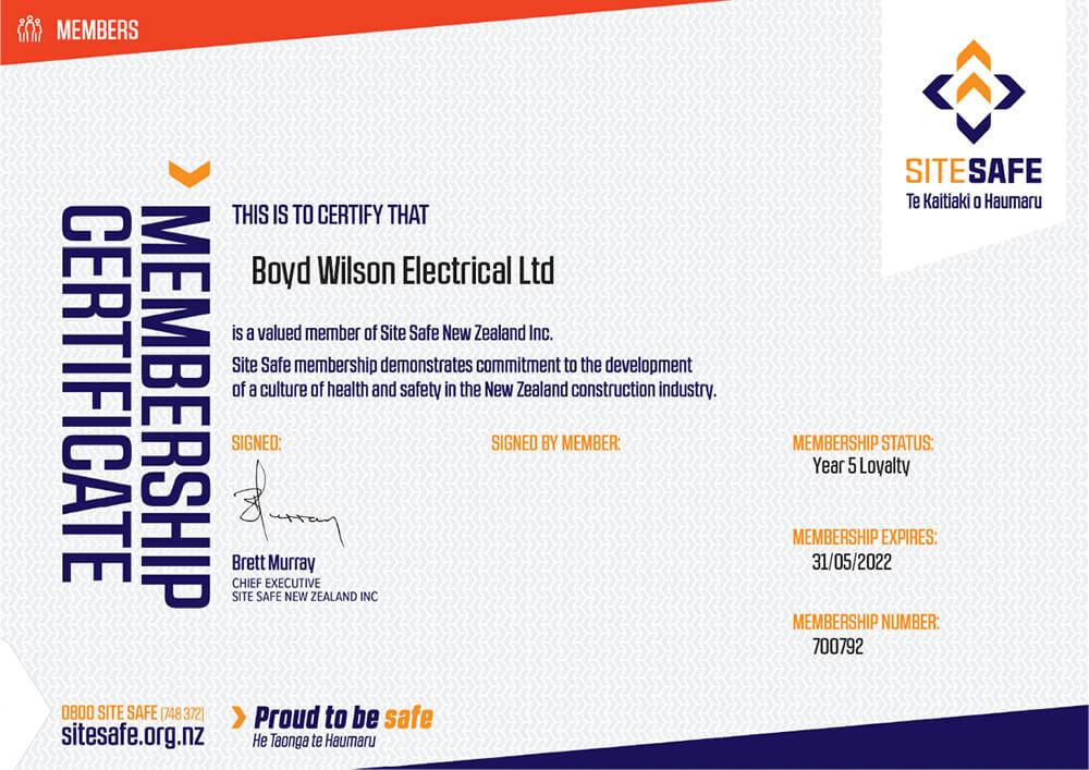 SiteSafe Membership Certificate for Boyd Wilson Electrical Marlborough NZ